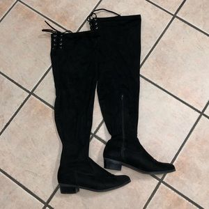 Over the Knee Black Stretch Boots